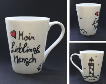 "Cup ""Moin favorite man"" - Cup hand painted - dishwasher - Lighthouse - anchor - heart - Seagull - favourite person"
