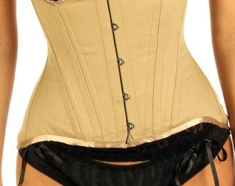 High Back Black and Beige Cotton Under Bust Edwardian Corset ANEENA