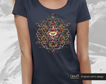 FLOWER of LIFE for Women T-shirt, Alternative clothing, Festival Fashion, trippy Art T-Shirt