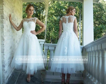 Cute Ivory Cap Sleeve Boat Neck Sweetheart See Through Back With Buttons Tulle A Line Lace Short Wedding Dress Ankle Length