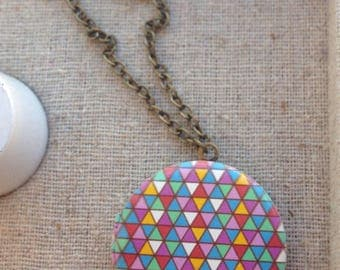Geometric locket necklace