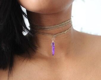 Purple Crystal Quartz Pendant | Wrap Choker Necklace | Choker | #WC003