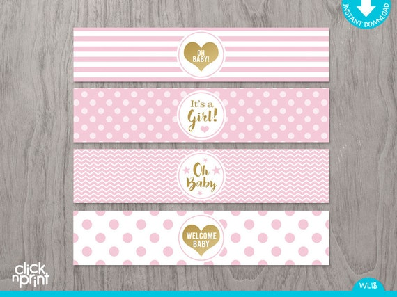 Pink And Gold Baby Shower Print Yourself Water Bottle Labels, Girl Baby  Shower Water Bottle Labels, Pink And Gold Decoration
