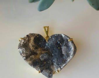Heart Raw druzy pendant