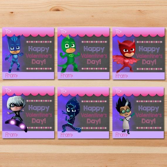 PJ Masks Valentine's Day Cards - Pink Chalkboard - Girl PJ Masks Valentines - PJ Masks School Valentine's Day Cards - Pj Masks Party Favors