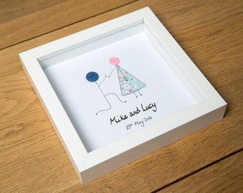 Engagement  Gift - Engagement Gift for Couple - Engagement Present - Gift for Her- Gift for Him - Button Pictures - Personalised & Handmade