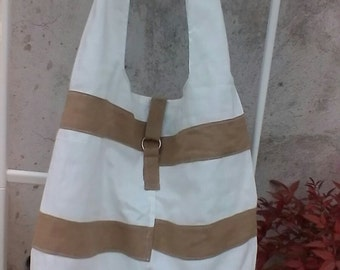White and beige cotton canvas hobo bag