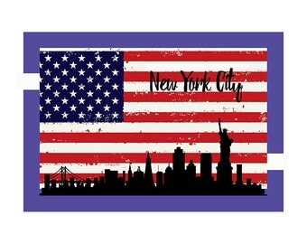 New Your City Silhouette. American flag. Red white black blue Urban silhouette. New York City Skyline. New York City print. New York poster