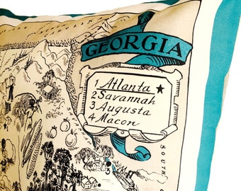 Georgia Vintage Map Pillow Cover with Pillow Insert