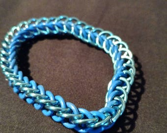 Sky Blue and Blue Stretchy Chainmaille Bracelet