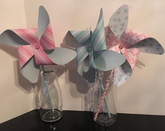 Pinwheels, Party Pinwheels, Paper Pinwheels, Party Decorations, Pink Blue Party Decor, First Birthday, Baby Shower, Photo Props, Cake Topper