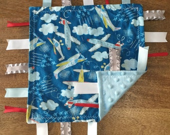 Airplane Minky Baby Tag Blanket // Security Blanket // Ribbon Blanket // Teething Blanket