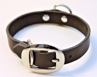Medium Genuine Leather Dog Collar (Black) 17''