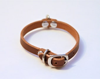 X-Small Genuine Leather Dog Collar (DarkBrown) 12''