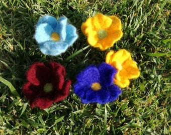 Felted flower 5 brooches