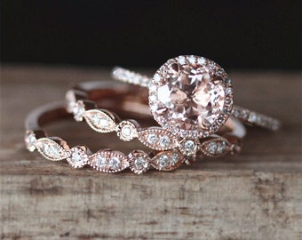 vs 7mm round cut natural morganite ring set 2pcs art deco half eternity diamond wedding ring - Morganite Wedding Ring