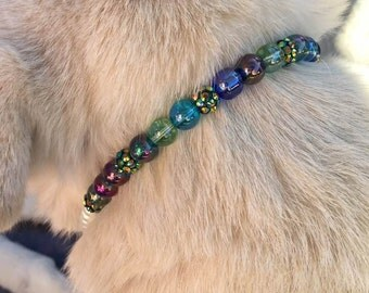 Marine Blue Pearl Dog Collar