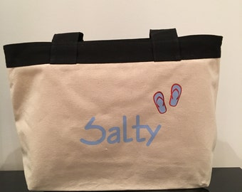 Salty beach bag, beach tote, canvas beach bag