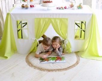 Children playhouse, Baptism Tablecloth, Green tablecloth, Table cloth Play house, Birthday Tablecloth, Green birthday decor, Kids play tent