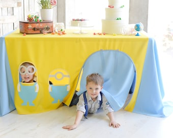 Minions party decorations, Minions birthday, Tablecloth playhouse, Tablecloth, Kids tent, Birthday tablecloth, Minions playhouse, Table tent