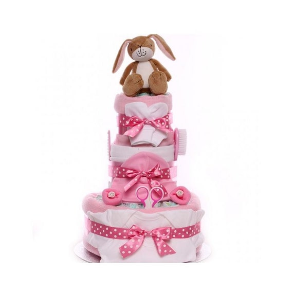 Nut Brown Hare Nappy Cake, nappy cake baby girl, nappy cake gift UK delivery, baby shower nappy cake, maternity leave nappy cake