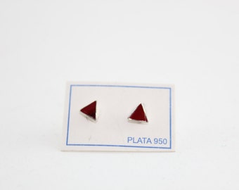 Red Coral Silver 960 Triangles - Stud, Srew Back Earrings - Very Elegant Love Passion Valentine's Day Gift