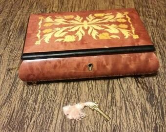 Vintage Italian inlaid wood musical jewelry box, free shipping