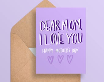 Printable Mother's Day Card - I Love You Mom -  Cute/Simple/Purple Card For Mom - Digital Download//Printable Card