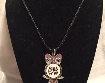 Engraved monogramed owl necklace with custom center piece