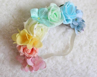 Rainbow Flower Crown, Bright or Pastel, Rainbow headband, Rainbow floral headpiece, floral crown, roses, hydrangeas, orchids, baby to adult,