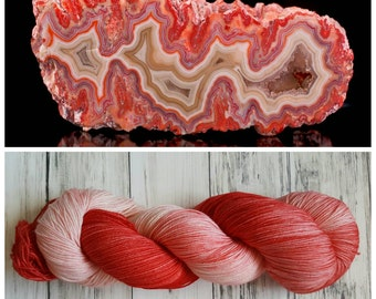Hand Dyed Yarn, Merino, Nylon Fingering Weight Tonal Sock Yarn Perfect for Socks, Shawls, Other Lightweight Accessories - Cherry Flame Agate