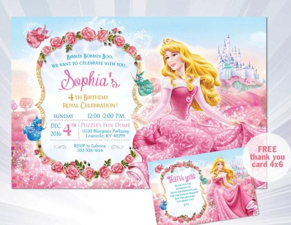 princess aurora invitation sleeping beauty princess