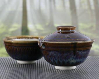 Shiboridashi and Teabowl Nr. 112 - Tenmoku Glaze