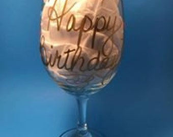 Happy Birthday - Wine Glass