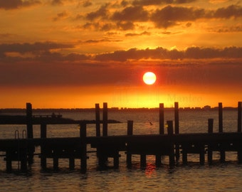 Walkin' the Docks:  Sunrise,Outer Banks,North Carolina,Morning,Dock,Tide,Gift,Wall Art,Ocean,Water,Instant Download,Walk,Printable Art