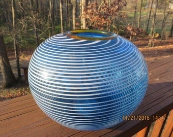Chatham Glass Company Art Glass Vase Rose Bowl Blue with White Stripes Massachusetts