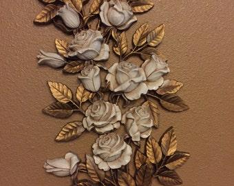 Vintage Homco Rose Wall Decor - Shabby Chic