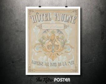 Hotel Aulne, Côte d'Amour - Vintage Travel Poster, Wanderlust, Travel Prints, Travel Gift, Travel Decor, Travel Art, Travel Canvas