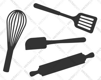 Kitchen Utensils SVG. Spatula, Whisk, Rolling Pin Art for Scrapbooking, Cricut, and Vinly Projects. Digital Download