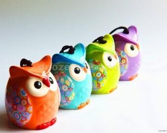 Ceramic Owl Wind Chime, Ceramic Wind Chimes, Fairy Garden Supply, Ceramic Miniatures, Owl Figurines, Owl Figures, Owl Decor