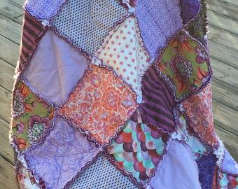 Purples, orange, plum rag quilt throw