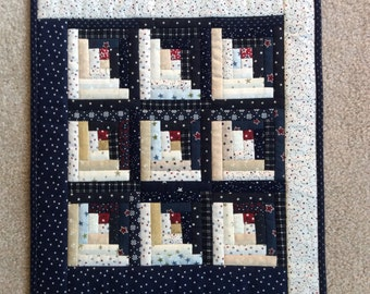 Log cabin quilted table topper - 4 of July