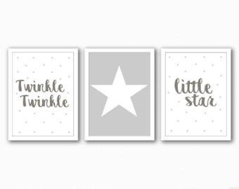Set 3 Grey And White Star Themed Nursery Prints