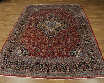 10X13 Handmade Traditional Red Kashan Persian Rug Oriental Area Carpet 9'5X13'4