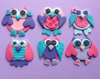 12 Edible cute fondant owls. Cupcake toppers. Cake deocrations. Owl.