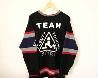 On Sale!! Vintage PLENTY TOUGH Sport Big Logo and Spell Out Multicolor Jumper Sweatshirt Skate Surf Hip Hop Size Medium