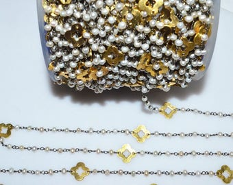 Beautiful Pearl Quatrefoil Rosary Beaded Chain - Pearl Clover Faceted Wire Wrapped Rosary Chain , 3 - 3.50 mm - RB5528