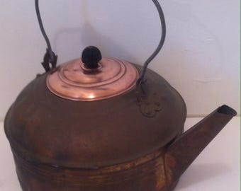 Vintage Copper Tea Kettle, Large Size, Copper Teapot, Vintage Old Tea Kettle, I Cleaned Up the Lid, the Rest Could Look the Same With Elbow