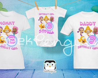 Bubble guppies Girls Birthday Shirt Custom personalized,  Birthday T shirt, Party