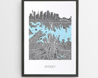 Sydney City Skyline Map Print / NSW / Australia / Skyline illustration / City Print / Australian Maps / Giclee / Unframed